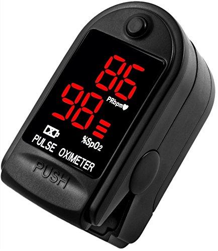 AVAX AV-50DL - Fingerpulsoximeter (Finger Pulse Oximeter) -{5bcc1edb9c2a0acf818b70e1aedd609395bb1aa79bf7f70e6dd4a9fbfffb00f7}SpO2 (Sauerstoffsättigung des Blutes) & Herzfrequenzmesser mit LED-Anzeige und Zubehör - SCHWARZ