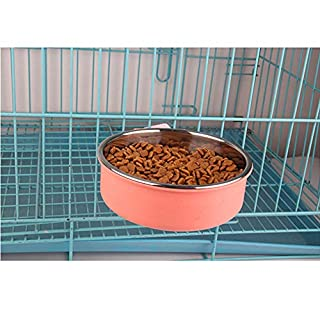 AZX Dog Bowl Hanging For Cage Crate 2 In 1 Stainless Steel Dog Cat Food Water Bowl Removable Pet Bowl For Bird Rabbit Hamster (Large, Pink)