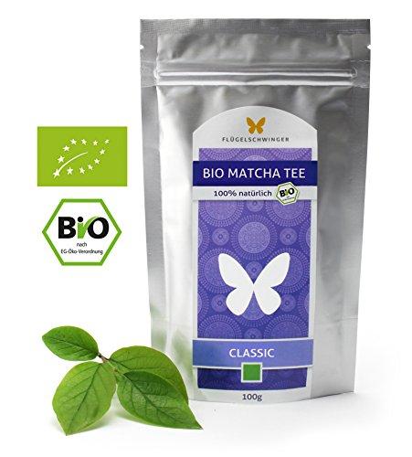 100g Bio-Matcha-Tee CLASSIC von FLÜGELSCHWINGER, CN-BIO-140, 100% Matcha ohne Zusätze, nach traditioneller Art in Steinmühlen gemahlen, Matcha, Pulver (100g)
