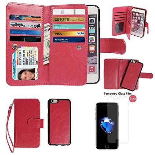 """xhorizon TM FM8 Cuir Premium Folio étui [ la fonction de portefeuille] [magnétique détachable] Sac à main bracelet souple Carte Multiple couvrefente pour iPhone 7(4.7"""") rouge+Film acier"""