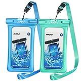 Mpow galleggiante impermeabile di 2confezioni, a secco il cellulare borsa per Iphonex/8/7/7Plus, Samsung Galaxy S8/S7, LG G6, Huawei P9e altri Smarphone, blu e verde