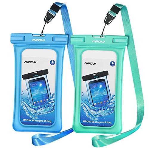 Mpow Funda Móvil Impermeable Flotante, Bolsa de Teléfono Móvil Seca, 6.5 Pulgadas para iPhone X/XR/XS/XS MAX/8/7/6/6s/6splus,Mate 20/P30/P20/P10,Sony,GalaxyS9/S8/S7,Nokia,HTC(Azul/Verde)