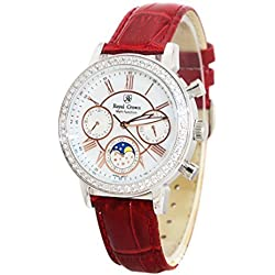 Royal Krone rot Leder Damen-Armbanduhr langii-6422-red Sechs analogs Quarz