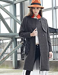 07acf0b9203 ELECTROPRIME M Women s Casual Daily Simple CoatSolid Stand Long Sleeve  Winter Black Wool Polyester