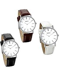 Jewelrywe 3pcs Reloj de pulsera de cuero clásico sencillo reloj de aleación moda nueva de 2016 regalo para su…