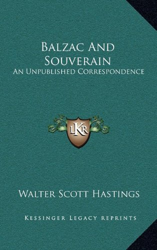Balzac and Souverain: An Unpublished Correspondence