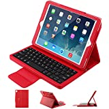 ipad pro 10.5 Keyboard case, Pasonomi Ultra Thin Folding PU Leather Folio Case Cover & Detachable Wireless Bluetooth Keyboard Cover Case for Apple iPad Pro 10.5 inch 2017 Tablet, Red