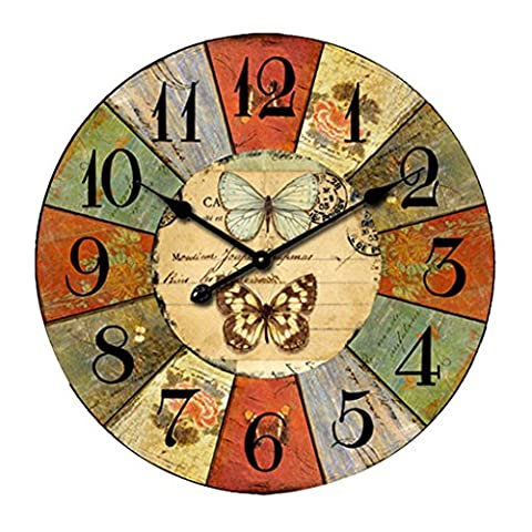 Kolylong European Style Vintage Creative Round Wood Wall Clock Quartz