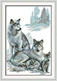 CaptainCrafts Hot New Releases Cross Stitch Kits Patterns Embroidery Kit - Wolf Family (STAMPED)
