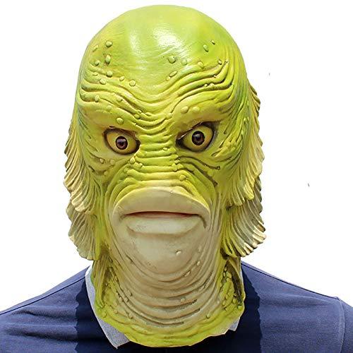 Halloween Monster Fisch Kopfbedeckung Maske Latex Maskerade Requisiten Für Männer Spikes Masl Einfache Cosplay Perücke Nylon Herren Schwarz Coole - Coole Und Einfache Kostüm