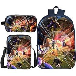 J-BAG Mochila para Niños Impresión 3D De Tres Piezas Dragon Ball Superhero Mochila para Niños Lonchera + Bolsa De Lápices + Mochila para Niños De La Escuela G