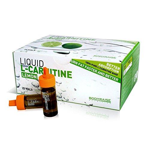 Bodyraise 100% Pure L-Carnitine Vials 2000mg - Integratore di aminoacidi di alta qualità al gusto limone per perdita di peso, aumento della concentrazione e dell'energia - 20 fialette da 10ml!