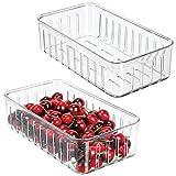 mDesign Set da 2 contenitori Alimenti Senza Coperchio - Pratico Modello di contenitori in plastica per Alimenti di Ogni Tipo - Contenitore frigo Multiuso con Aperture Laterali - Trasparente