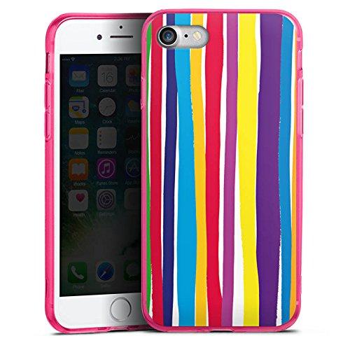 Apple iPhone 7 Silikon Hülle Case Schutzhülle Streifen Farben gestreift Silikon Colour Case pink