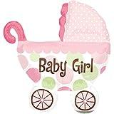 paduTec Ballon XXL Folienballon Luftballon - Baby Girl Babyshower Kinderwagen Babywagen Mädchen - Geburt Babyparty Krankenhausbesuch Mitbringsel Deko - geeignet zur befüllung mit Luft oder Helium Gas