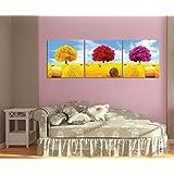 Árbol de Four Seasons,Árbol de la Vida,Amarillo,Rojo,Púrpura_Imagen impresa en lienzo Arte de pared para sala de estar Dormitorio Decoración del hogar 3 piezas 40x40 con marco
