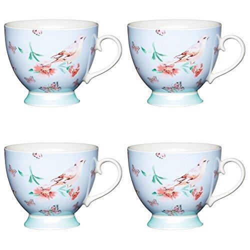 Kitchen Craft AMZKCMFTD01SET4 Blue Birds Chintz Gemusterte Becher mit Standfuß, 400 ml, Porzellan, blau, 10,5 x 13 x 9,5 cm, 4-Einheiten - Blue Chintz