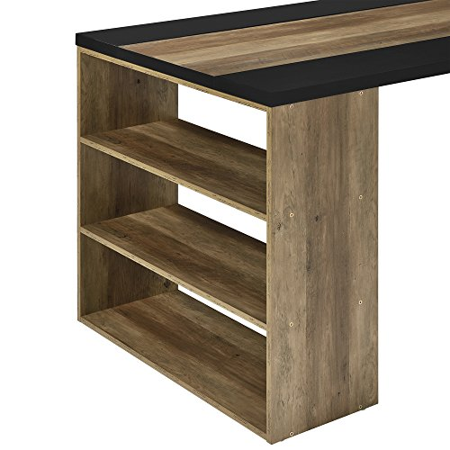 [en.casa] Schreibtisch mit 3 Ablagefächern - MDF, furniert - 180x78x77cm - Holzfarben/Schwarz - Arbeitstisch Computertisch - 4