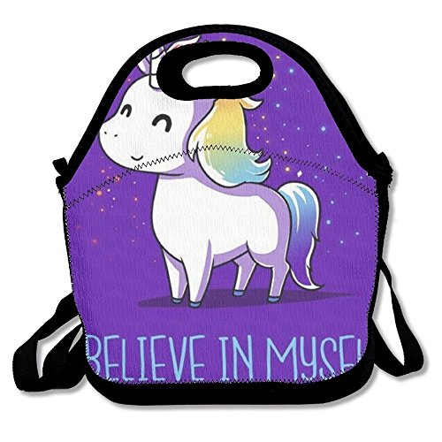 Preisvergleich Produktbild Unicorn Who I Believe In Myself Portable Lunch Tote Bags, Takeaway Lunch Box, Outdoor Travel Fashionable Handbag For Men Women Kids Girls