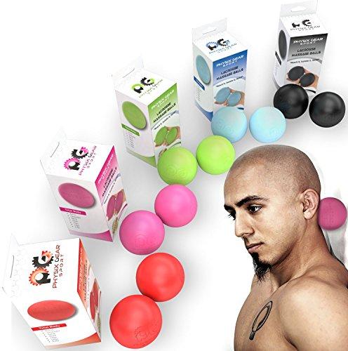 Physix Gear Massageball Igelball Fußmassage Selbstmassage Ball für Entspannung & Schmerzlinderung Massage Ball Fazienkugel für punktuelle Massage Igelbälle Massagebälle Faszienbälle 2x PINK (Lacrosse) -
