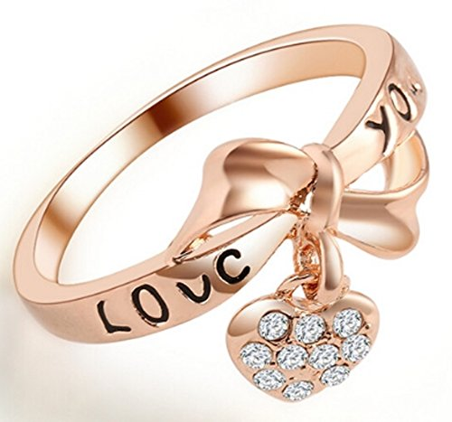 SaySure - Love Heart Bow Rings Gold Plated wedding Austrian (SIZE : (Cameo Bow)