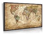 PinnArt Antike Weltkarte (Vintage Design) Mit Echt-Holz-Rahmen auf Pinnwand - Galerie Version - Limited Edition 2017 - Original Wenschow seit 1918 - (Dünn laminiert: beschreib- und abwaschbar)