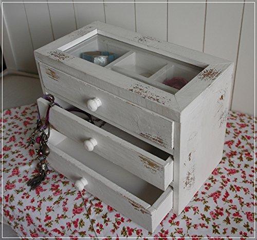 Cottage Mit 3 Schubladen (Schmuckkasten Holz Weiß Shabby Glasfenster Schubladen)
