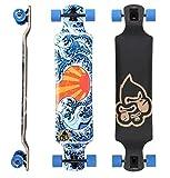 BIKESTAR Premium Canadian Maple Drop Down Flush Cut Pro Longboard Skateboard für Kinder und Erwachsene auch Anfänger ab ca. 10 - 12 Jahre ★ 75mm Freeride/Long Distance Pushing Edition ★ Japan Wave Design
