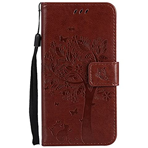 Samsung Galaxy A5 2017 Case Leather [Brown], Cozy Hut [Wallet Case] Premium Soft PU Leather Notebook Wallet Embossed Flower Tree Design Case with [Kickstand] Stand Function Card Holder and ID Slot Slim Flip Protective Skin Cover for Samsung Galaxy A5 2017 - Brown