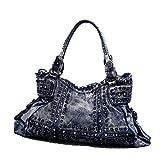 LXYIUN Damenhandtasche,Mode Persönlichkeit Schrägkreuz Cowboy-Handtasche,Blue