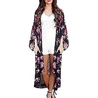 Mujer Gasa Cárdigan, Covermason Flores Impresión Suelto kimono Moda Chaqueta (Negro, L)