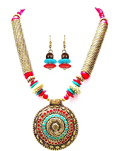 Arittra Red Crystal Pendant Necklace With Earring Jewellery Set For Women