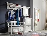Garderobe, Garderobenschrank, Garderoben-Set, Flurgarderobe, Garderobenmöbel, Dielenmöbel, Flurmöbel, recyceltem Kiefer weiß, white sanded, massiv
