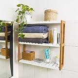 SoBuy Estantería de pared, estantería de baño, librería, estantería de cocina de bambú, FRG28-WN, colore: natural/blanco