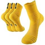 BeeViuc Basketball Socken Herren Sneaker Socken Baumwolle Atmungsaktive Anti Rutsch 40-46 für Basketball - 3 Paare Gelb