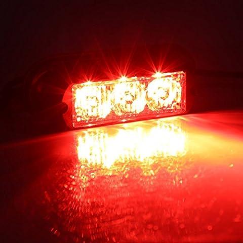 Rupse 2 pcs of Pack 3 LED Strobe Lights 12-24V Super Bright High Power Car Truck Van Warning Flasher Light Caution Emergency Flashlight (Red)