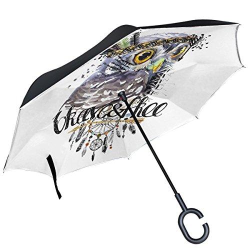 ALAZA Nativo Indio búho Atrapasueños Diseño Doble Capa Resistente al Viento Reverse Paraguas