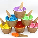 DEALBOX Ice Cream Cone Shape Bowl with 1 Spoon in Each Cup Set of 4 - Assorted Colors - BPA Free Plastic