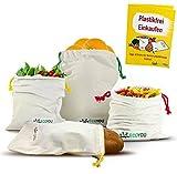 EcoYou extra robuste Obst & Gemüsebeutel - Wiederverwendbare Brotbeutel 4er Set aus 100% Baumwolle - INKL. plastikfrei Einkaufen Guide & Gewichtsangabe auf Etikett I Einkaufsnetze Gemüsenetz