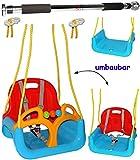Unbekannt 2 TLG. Set _ Türreck + mitwachsende - Babyschaukel / Gitterschaukel mit Gurt -  ROT / GELB / BLAU  - Leichter Einstieg ! - mitwachsend & verstellbar - 100 k..