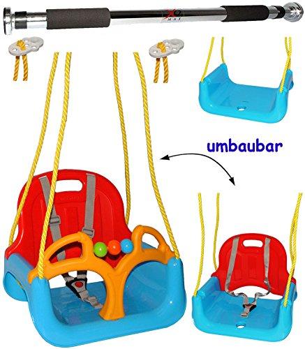 """Preisvergleich Produktbild 2 tlg. Set _ Türreck + mitwachsende - Babyschaukel / Gitterschaukel mit Gurt - """" ROT / GELB / BLAU """" - leichter Einstieg ! - mitwachsend & verstellbar - 100 kg belastbar - Kinderschaukel ab 1 Jahre - Reck für Türrahmen Befestigung - Stange - Türstange - mit Rückenlehne & Seitenschutz - Schaukel für Kinder - Innen und Außen / Garten - für Baby´s - aus Kunststoff / Plastik - Kunststoffschaukel - mitwachsend - Sicherheitsgurt - Gitterschaukel / Kleinkindschaukel - Baby"""