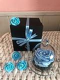 Rosa eterna en urna de cristal + tarjeta con mensaje + caja con regalo (Celeste) URGENTE 24H