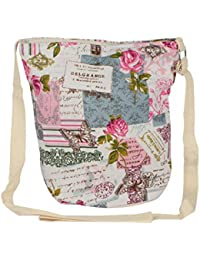 fb62c4298283 STRIPES Butterfly and Flower Print Design Cotton Fabric Waterproof Sling  Bag for Women Girls