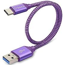 Samsung Galaxy S8cargador de USB C, Cable de carga corto, acocobuy 0,3m/cm tipo C carga rápida Cable trenzado USB 3.0cable de transferencia de datos para Samsung S8Plus Sony Xperia XA1L1Nokia 8morado