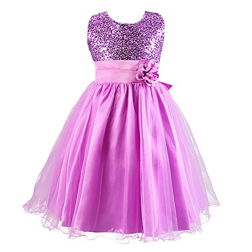 LSERVER-Kleines Mädchen Prinzessin Kostüm Paillette Blume Hochzeit Bankett Party Kleid (Kleine Mädchen-kleid)