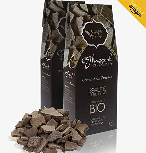 AREAMAR - Ghassoul Argile en poudre 100% naturel BIO, Aromatisé aux 7 plantes, Gommage naturel pour la peau les cheveux le visage, Soin du corps, Tout type de cheveux, Origine Maroc, 200 g