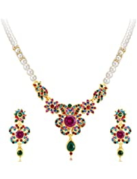 Sukkhi Delightful Gold Plated AD Necklace Set For Women