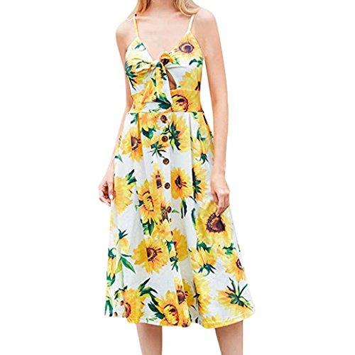 (KaloryWee Kleider Damen Kleider Sommer Krawatte Vorne V-Ausschnitt Spaghetti Strap Button Down A-Line Rückenfrei Swing Midi Kleid, Ayellow, Label Size S)