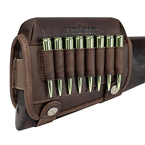 tourbon chasse véritable Leahter Pistolet Buttstock Cheek Rest de Fusil munitions Support main droite