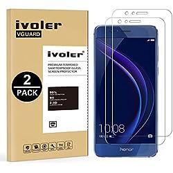 iVoler [Pack de 2] Verre Trempé pour Huawei Honor 8 [Garantie à Vie], Film Protection en Verre trempé écran Protecteur vitre (0,3mm HD Ultra Transparent)